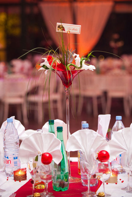 vase martini rouge location décoration mariage table centre decorevents