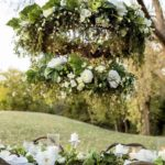 couronne osier grise suspendre decoration mariage location decorevents